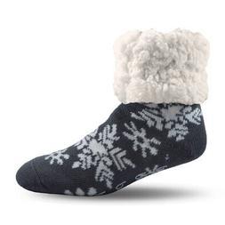 Pudus  Gray  Slipper Socks  Acrylic/Polyester  1 pk