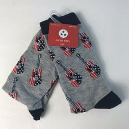 Guitar Print Crew Socks Size 4-10 Blue Red Americana
