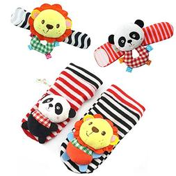 HappyMonkey 4pcs Hand Wrist and Foot Socks Rattles Toys for