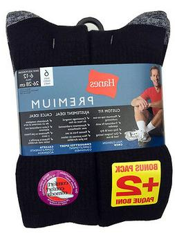 "Hanes 12 paris Men's BLACK WORK SOCKS Fit Size 6-12 ""Heavy-D"
