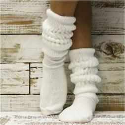 HOOTERS  white slouch socks,  MADE in USA, 80s scrunchy sock