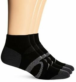 ASICS Intensity Quarter Socks 3-Pack, Large, Black Assorted