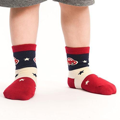 12 Pairs Toddler Skid Cotton Socks 1-3 Years