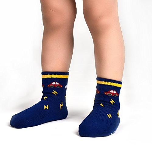12 Toddler Socks with Grip 1-3 Years by Flanhiri