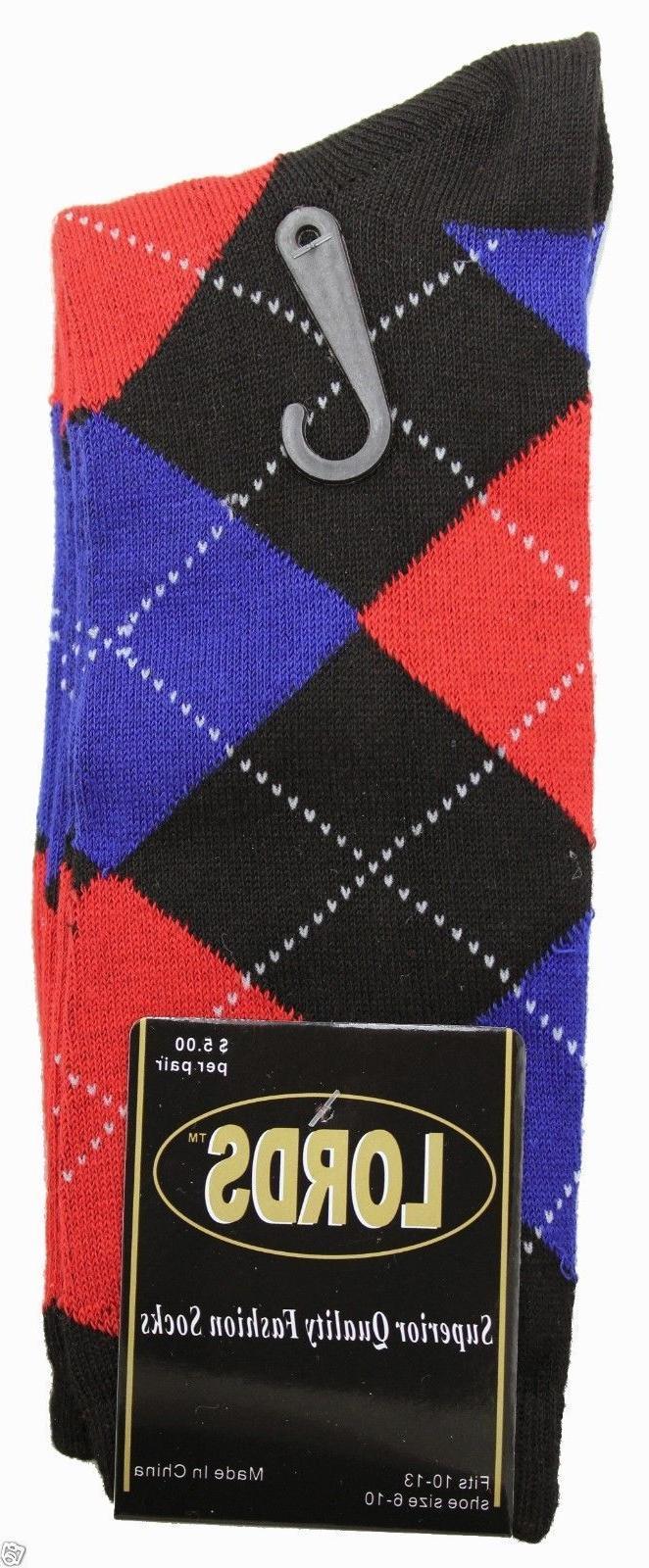 12 Pairs/1 Argyle Socks Multi Size