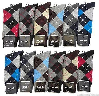 12 Pairs Mens Premium #1Focus9-11 Argyle COTTON Blended Dres