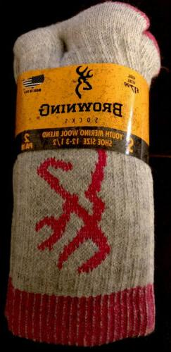 2 Pack Browning Kids Youth Wool Blend Socks, Size S 12-3-1/2