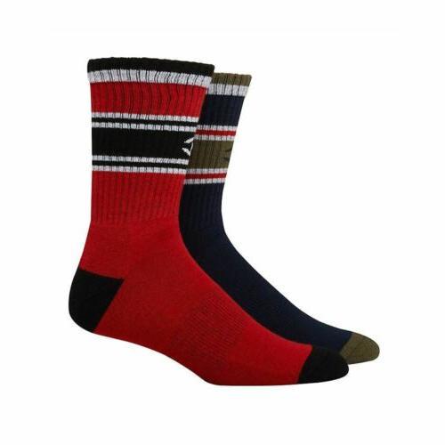 2-Pairs Men's Crew Socks- Logo - 6-12