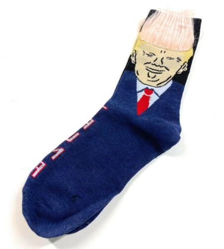 2020 President Donald Trump Socks w/3D Fake Hair Crew Socks