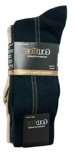 Gold Toe Men's 2198S Crew Fashion Patterned Dress Sock,Khaki