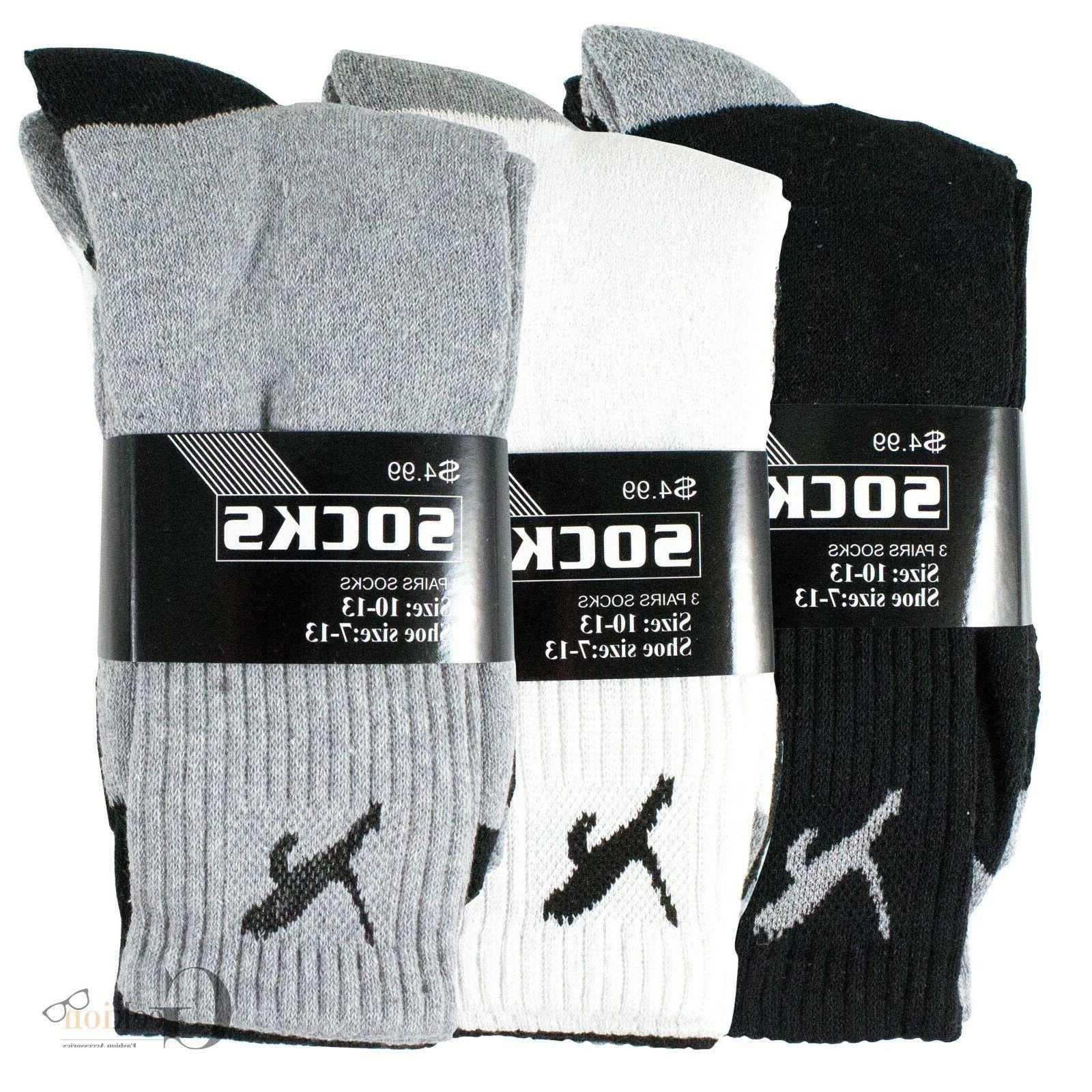 3-12 Mens Athletic Sports Comfort Work Crew Socks 10-13