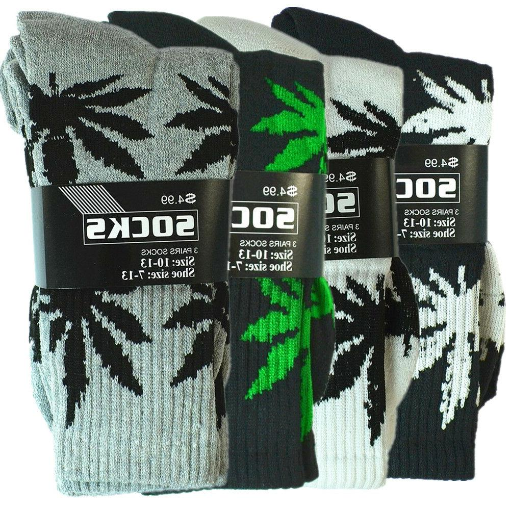 3-12 Mens Sports Leaf Weed Marijuana Crew Socks Size 9-13