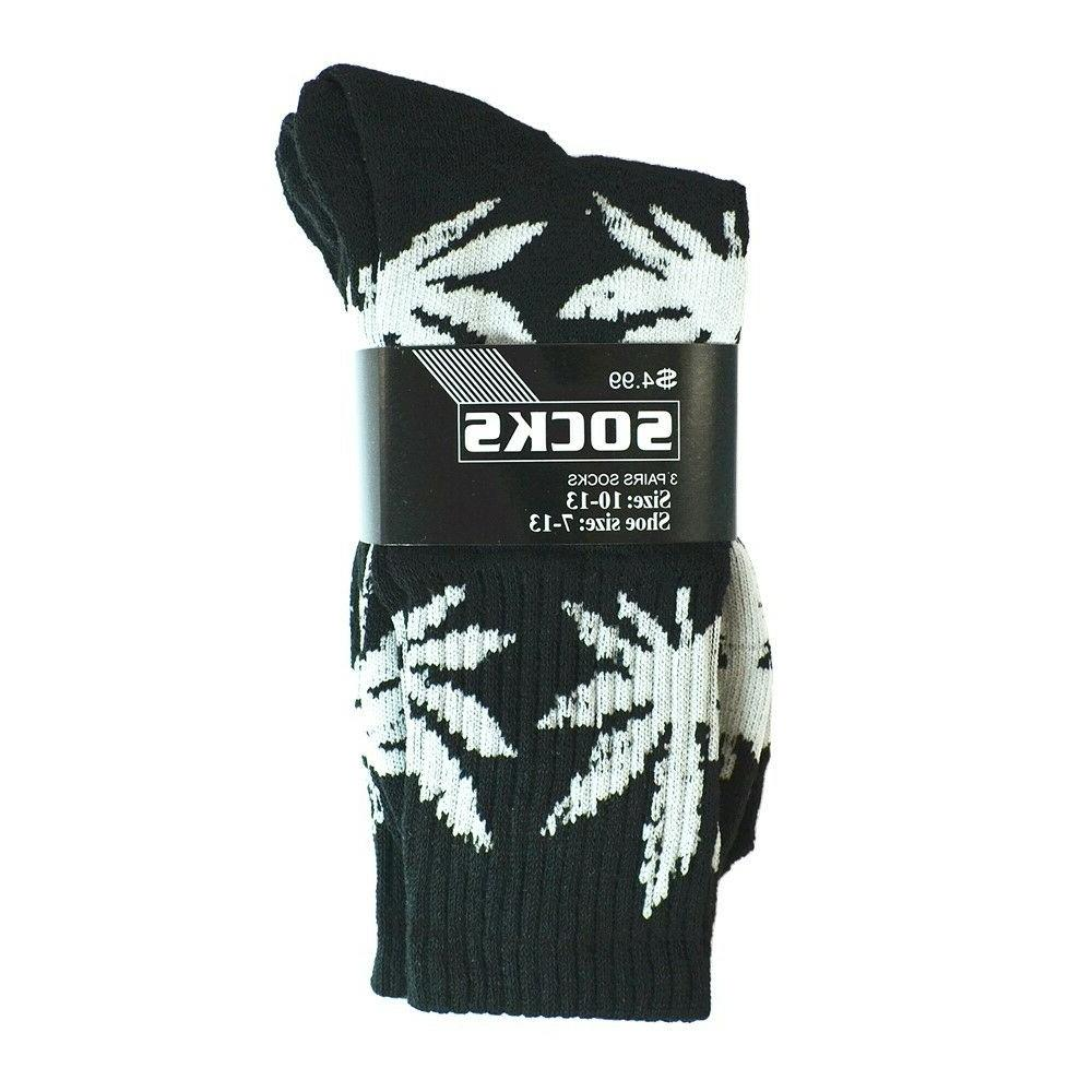 3-12 Mens Leaf Crew Socks Size 9-13