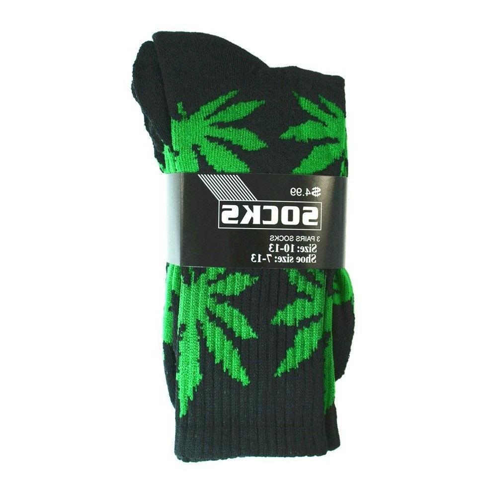 3-12 Pairs Mens Sports Leaf Weed Marijuana Athletic Crew Cotton Size 9-13