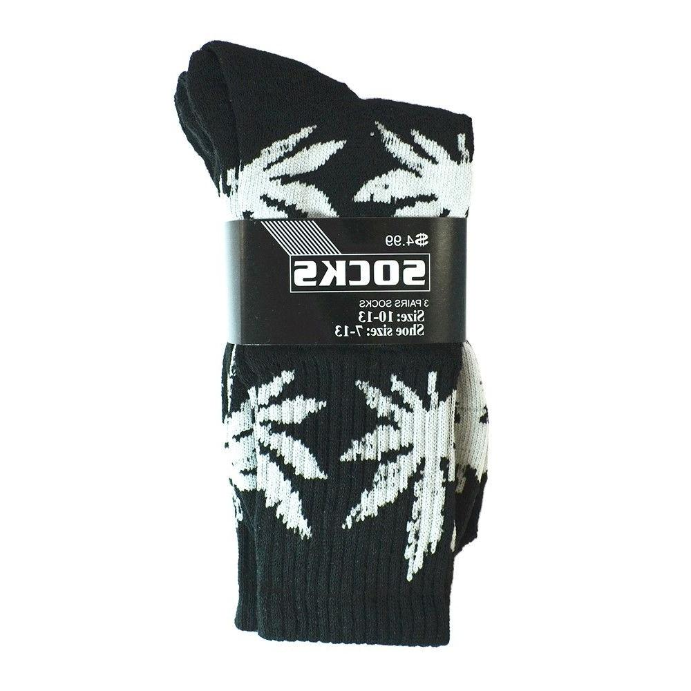 3-12 Pairs Sports Leaf Marijuana Crew Socks 9-13