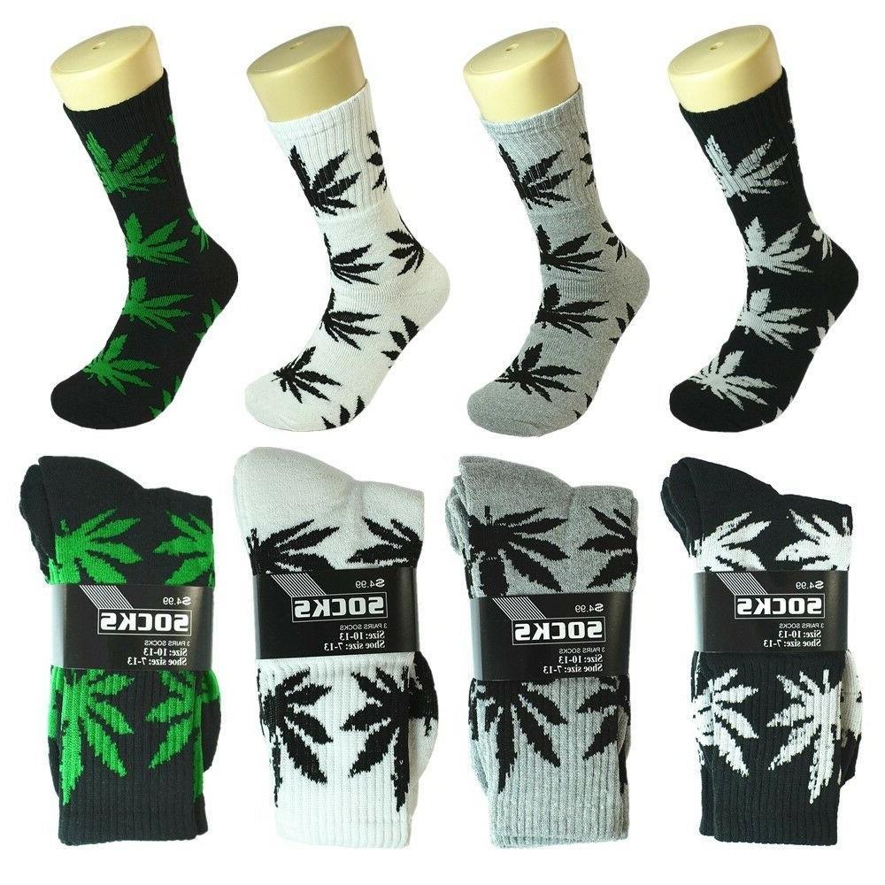 3-12 Pairs Sports Leaf Marijuana Crew Cotton Socks Size 9-13