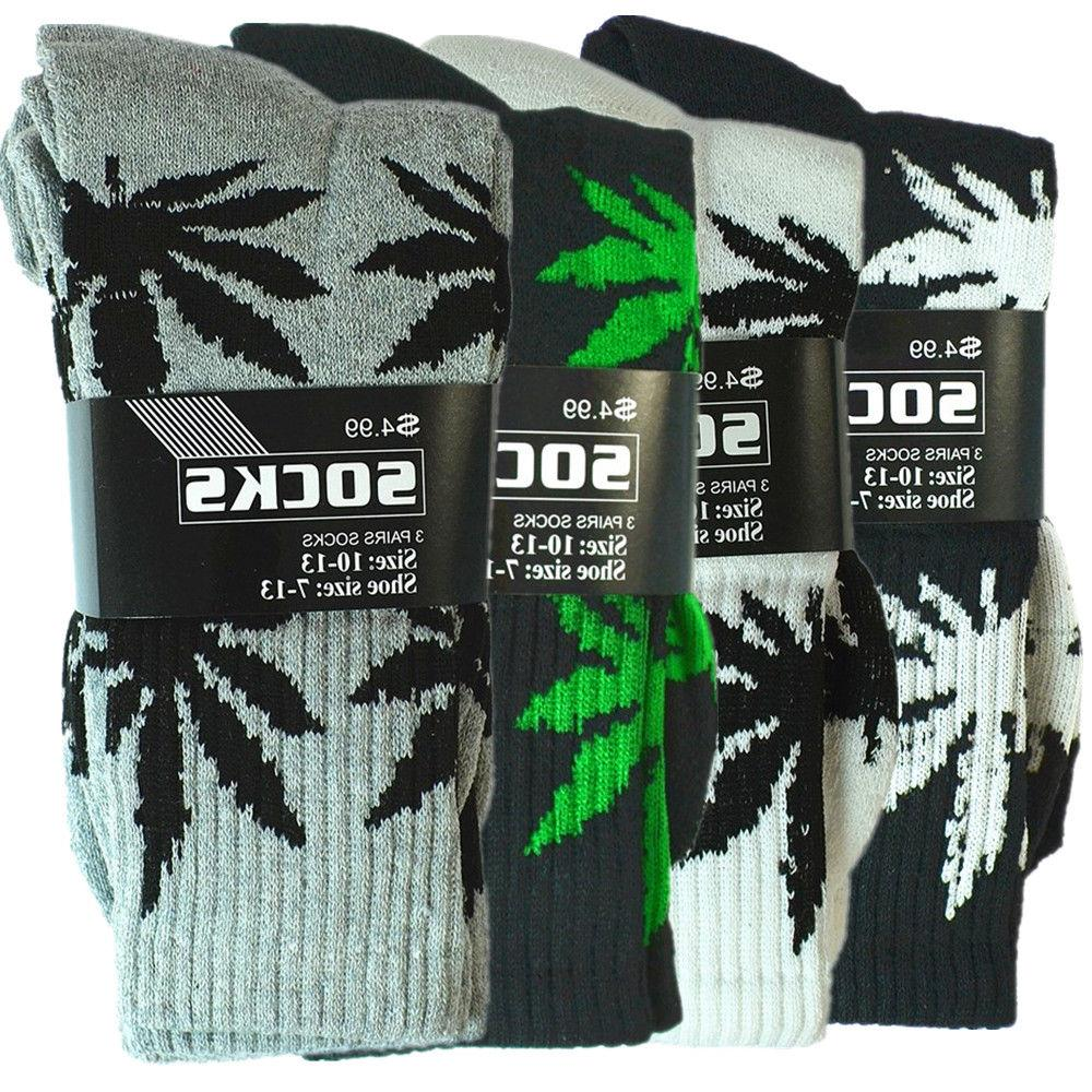 3 12 pairs mens sports leaf weed