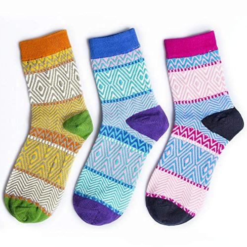 3-5 Womens Thick Knited Crew Socks, Cute Funny Animal Cat Socks