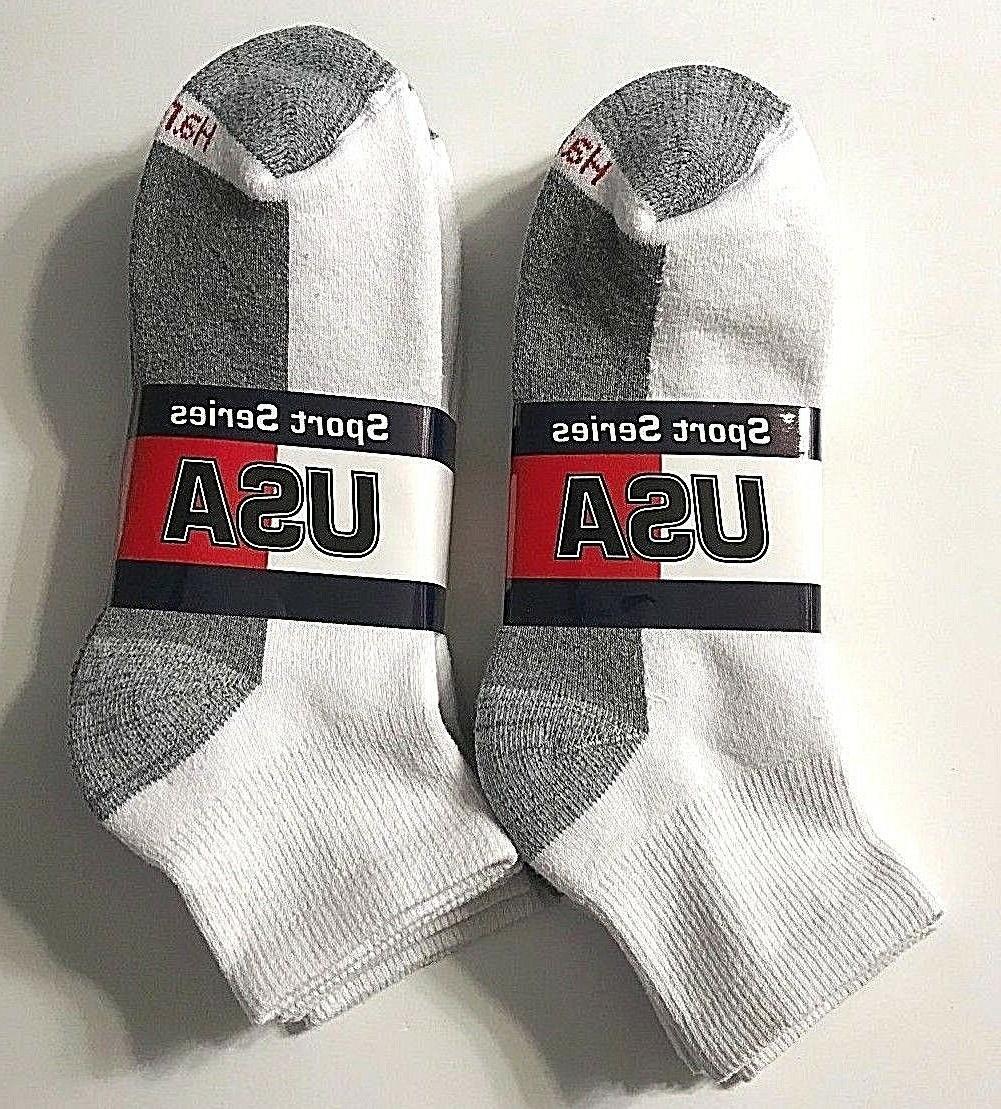 6 HANES White Ankle Sock