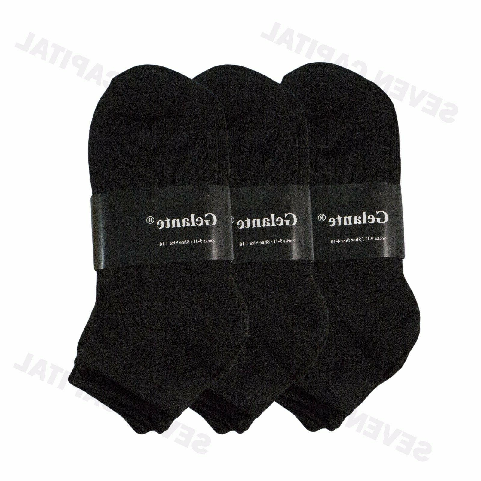 3 Pairs Solid Black Low