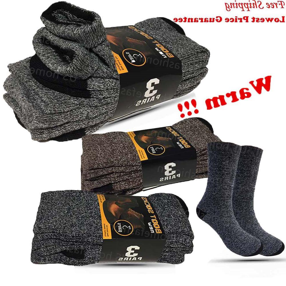3 Mens Winter Heavy Thermal Crew Boots Socks Size