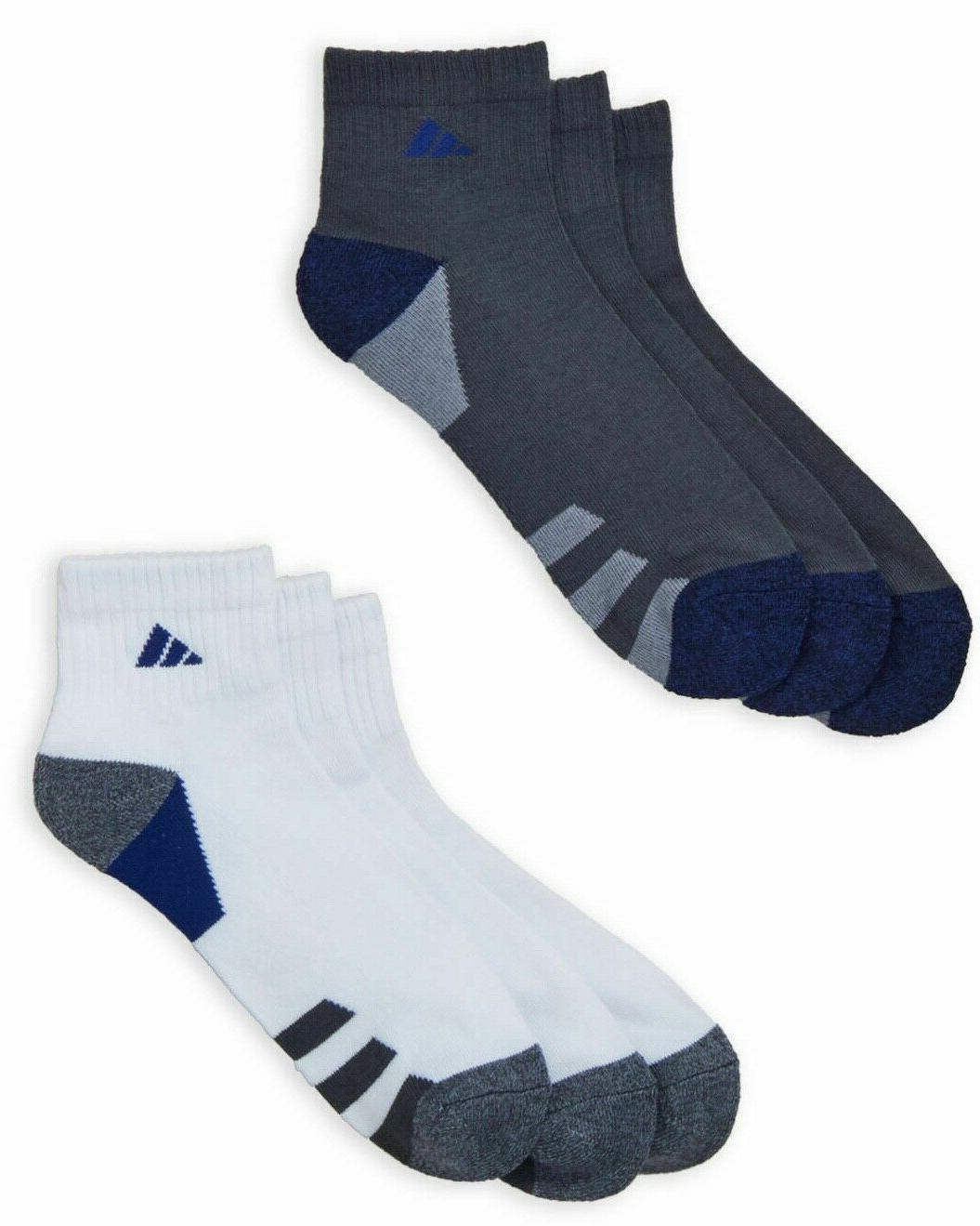 6 Adidas Cushion QUARTER Socks WHITE WICKING