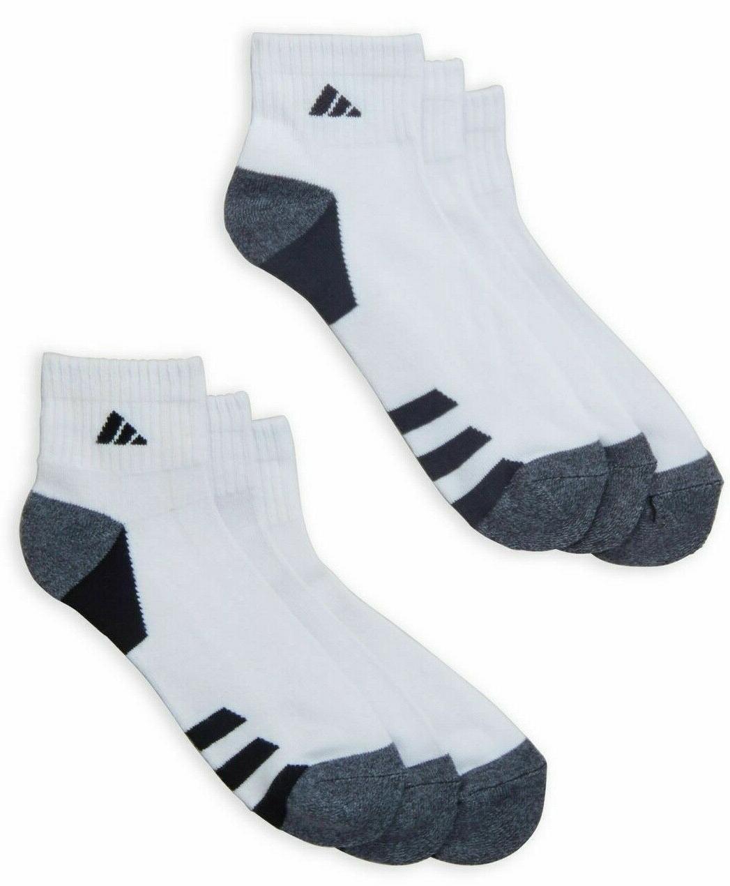 6 Pack Men Cushion QUARTER Socks WHITE LARGE WICKING