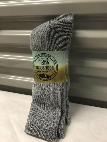 3 pair Men's Outdoor Life Merino Wool Thermal Boot Socks 10-