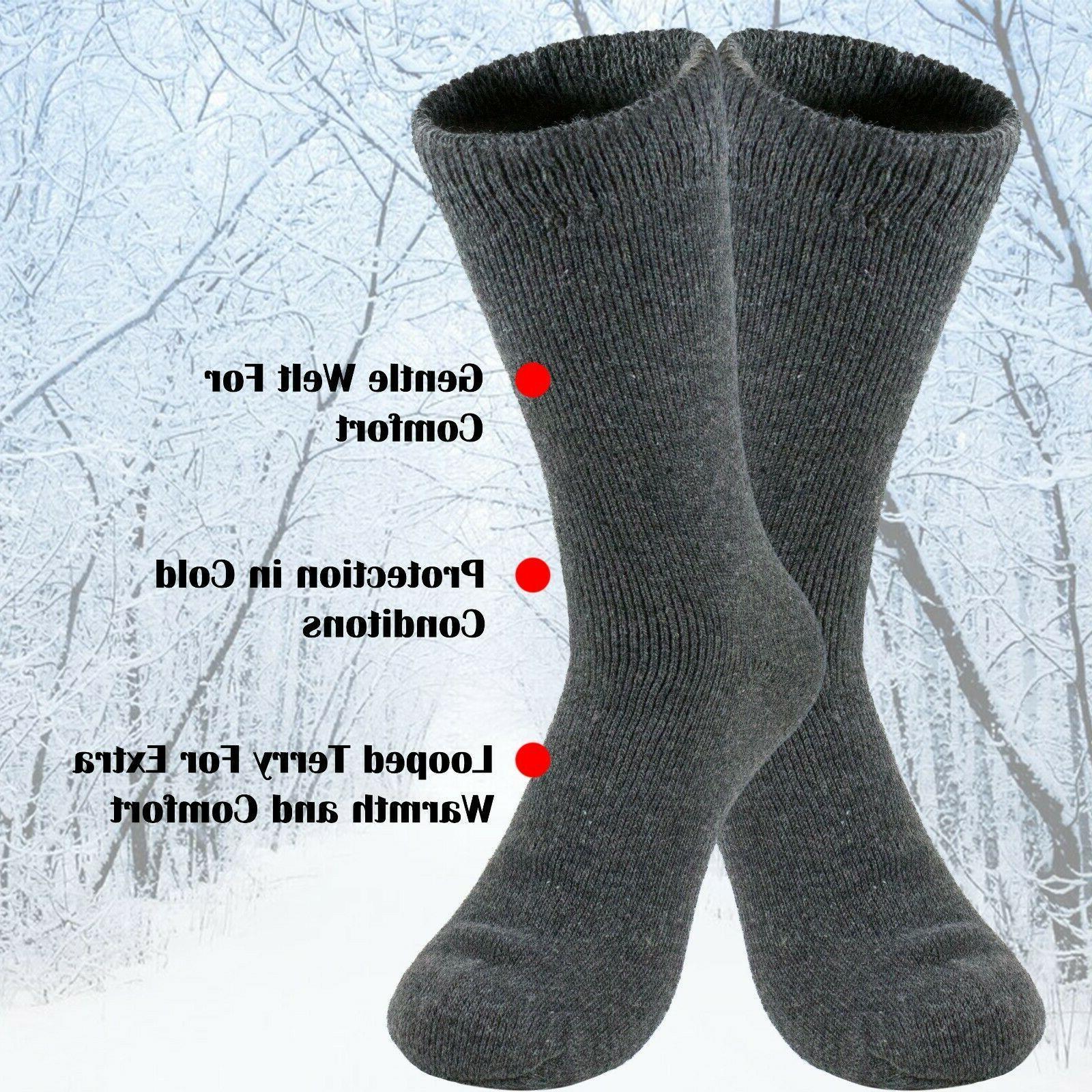 3 Mens Duty Boot Socks Winter Heated Work Crew Sox 9-13