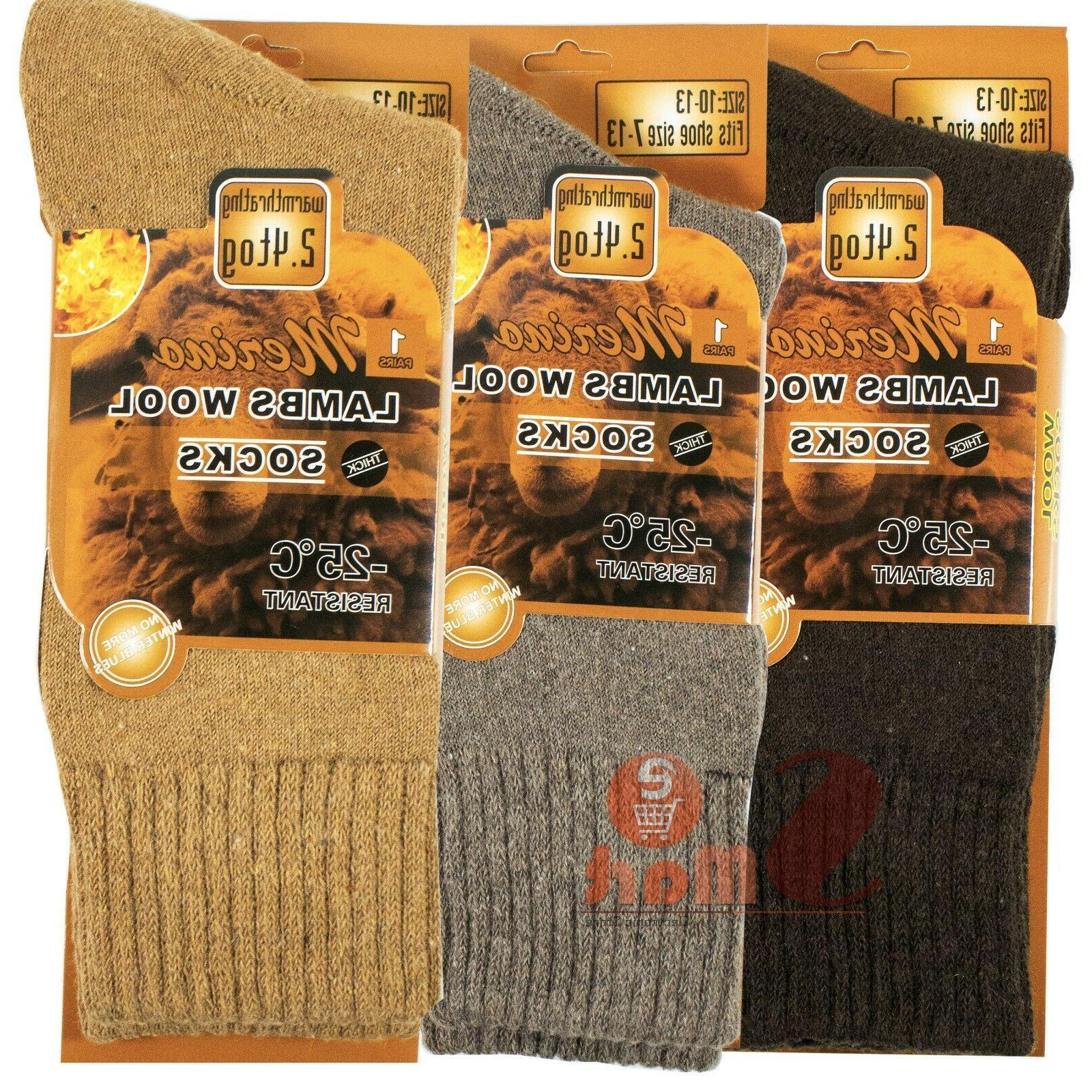 3 Pairs Winter Merino Lambs Heavy Thermal Boots Mens