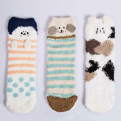 3 Pairs Womens Fuzzy Slipper Sleeping Cute Socks