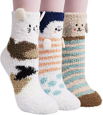3 pairs womens fuzzy socks winter warm