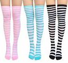 Chalier 3 Pairs Womens Long Striped Socks Over Knee Thigh Hi