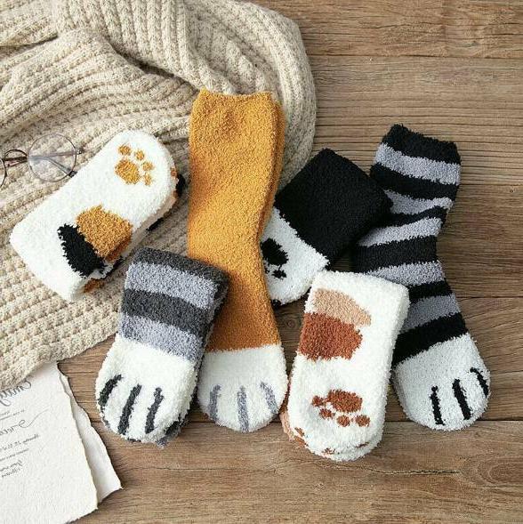 1/3Pair Cat Paw Printed Sock Gift
