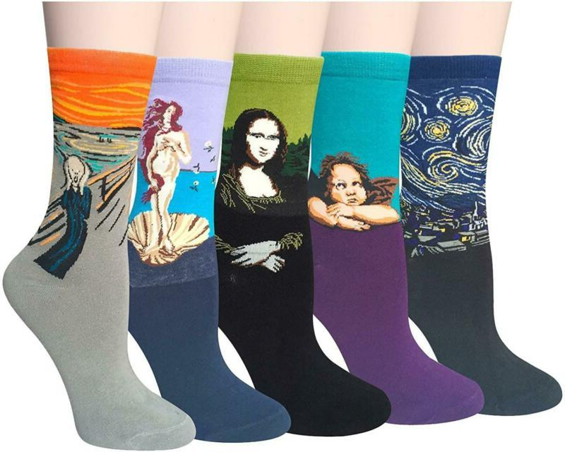 Chalier 4-6 Pairs Womens Fun Socks Famous Painting Patterned