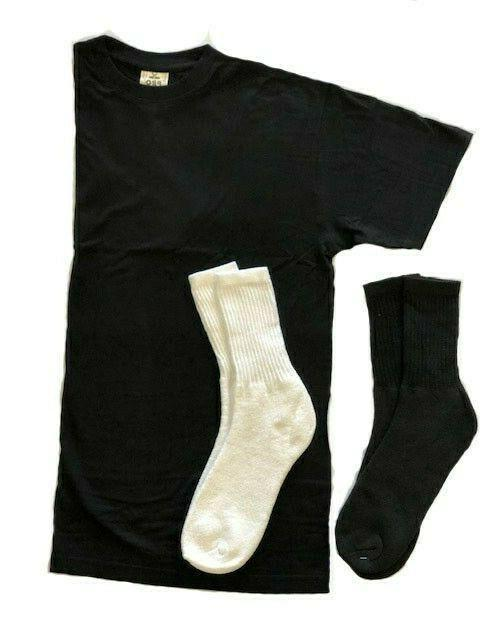 4xl 5xl black crewneck tshirt free socks