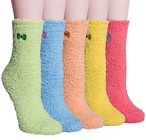 5 pack women girls soft socks winter