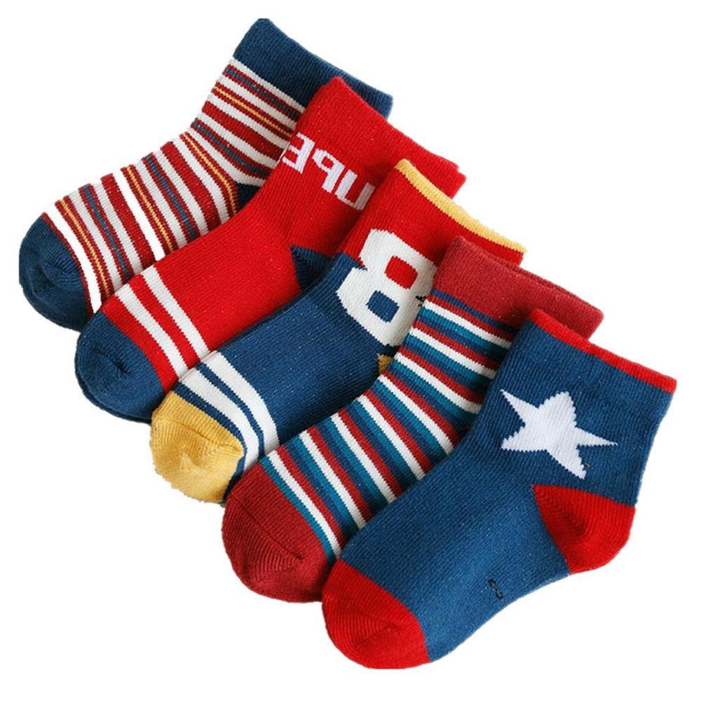 5-Pairs Baby Kids Socks Cotton Socks Boys and Girls Socks fo