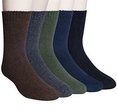 YSense 5 Pairs Mens Winter Warm Wool Thick Casual Crew Socks
