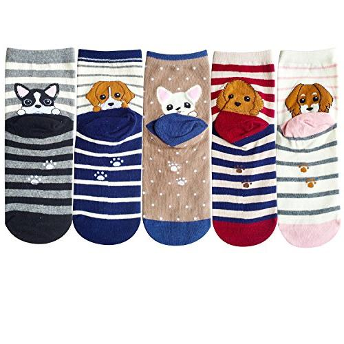 Chalier 5 Womens Cute Animal Cotton Funny Socks