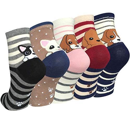 5 pairs womens cute animal socks casual