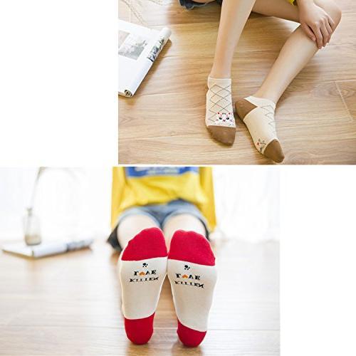Loritta 5 Cute Cotton Ankle Socks Funny No Low Cut Animal Socks