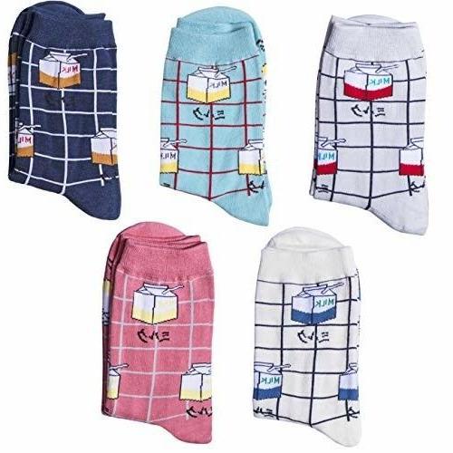 Chalier 5 Pairs Cute MILK Socks Cotton Crew Socks