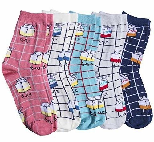 Chalier 5 Cute MILK Socks Cotton Crew