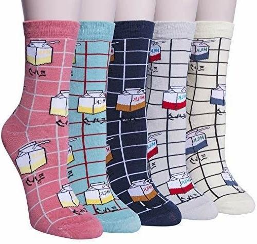 5 pairs womens cute milk socks casual