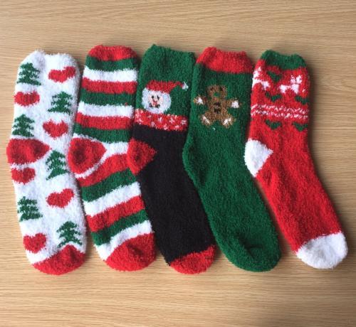 Loritta 5 Fuzzy Christmas Socks Soft Cozy Fluffy Socks