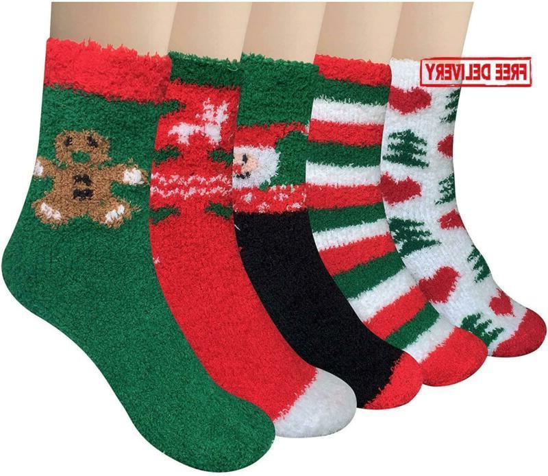 5 Pairs Womens Fuzzy Socks Winter Warm Cozy Fluffy Super Sof