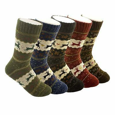 YSense 5 Pairs Womens Knit Warm Casual  blend of Wool Crew W