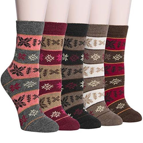 5 pairs womens vintage style thick knit