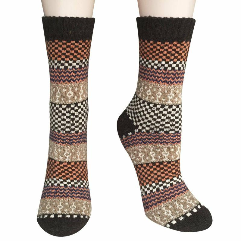 Loritta 5 Vintage Style Thick Cozy Crew Socks